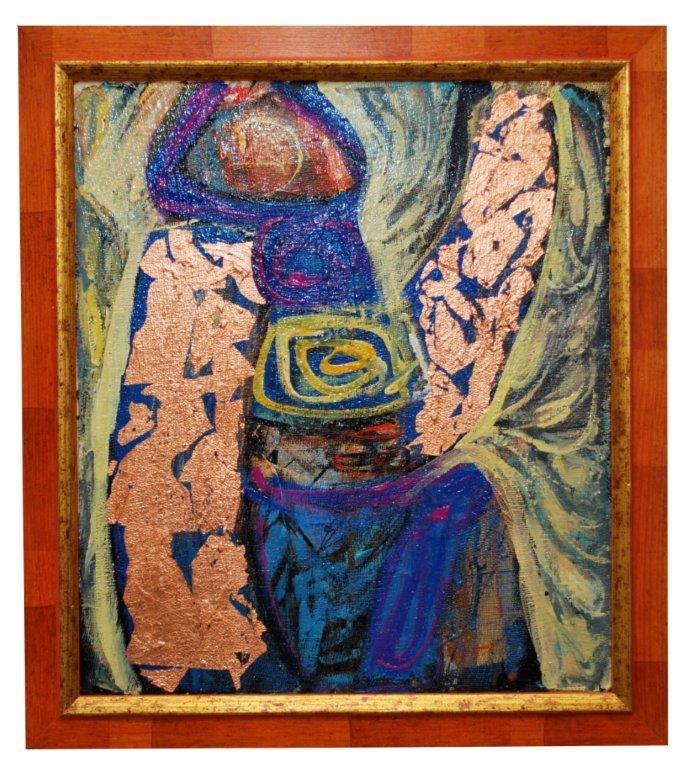 0032Zamyslenie ,21x35 cm,kartón plátno,2009